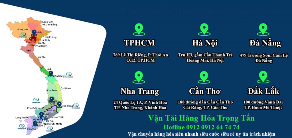 biểu đồ chi nhánh cước chành xe vận chuyển Hà Nội Sài Gòn