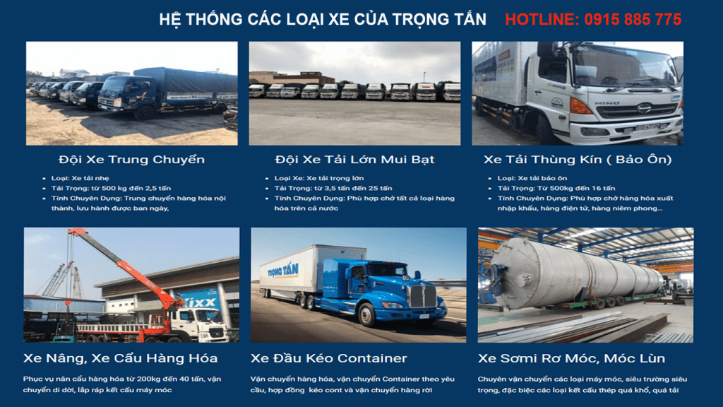 Chuyển hàng Hà Nội Bình Dương với đa dạng các loại xe