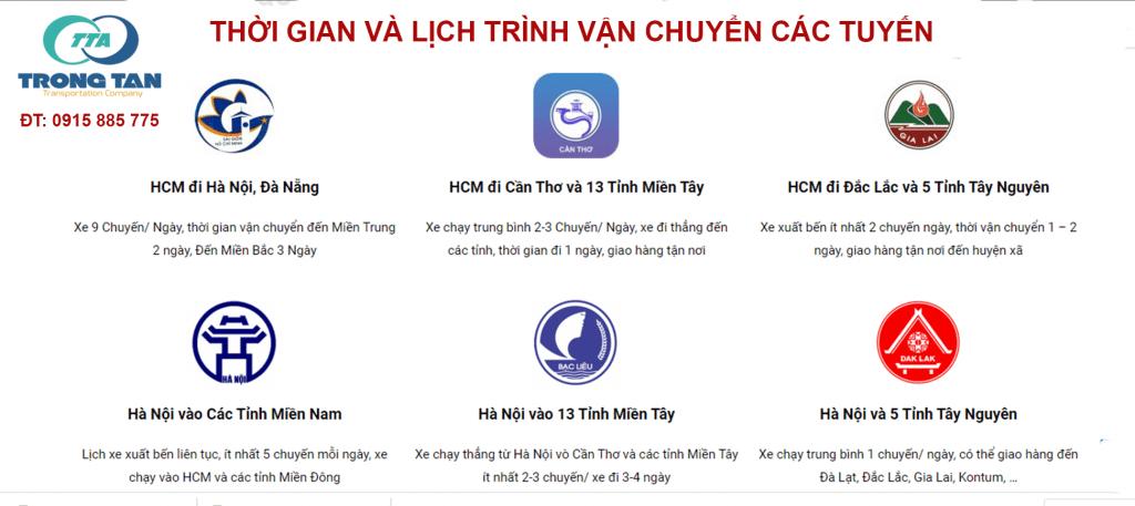 Lịch trình và thời gian vận chuyển của Chành xe Hà Nội Sài Gòn