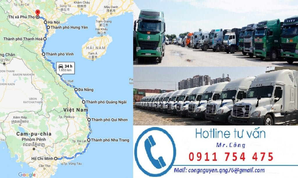Chành xe nhận vận chuyển hàng hóa từ Sài Gòn đi Phú Thọ
