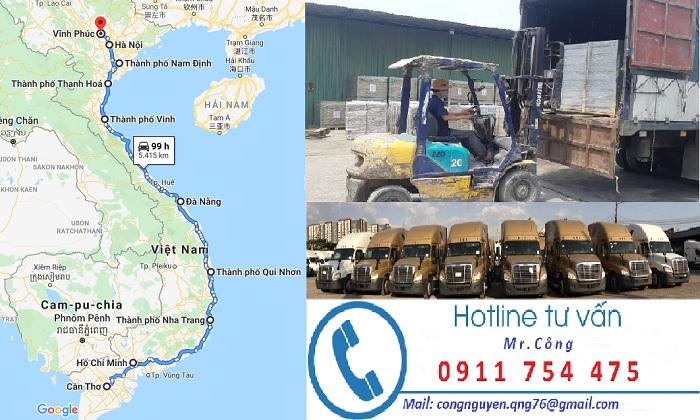Chành xe vận chuyển hàng Vĩnh Phúc đi Sài Gòn