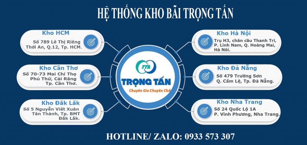 Hệ thống kho hàng chành xe Long An Kon Tum