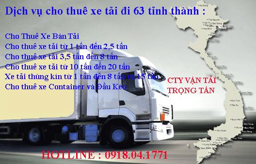 Dịch vụ cho thuê xe tải nhà xe Trọng Tấn