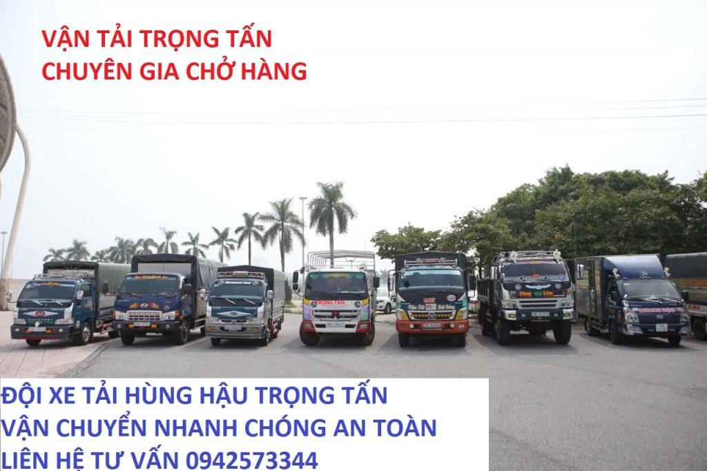 Đội xe tải chở ghép hàng của công ty Trọng Tấn